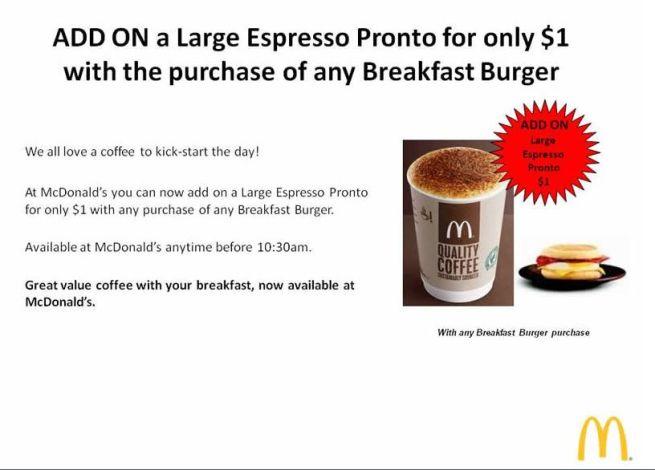 australian mcdonalds new meal deal breakfast $1 coffee