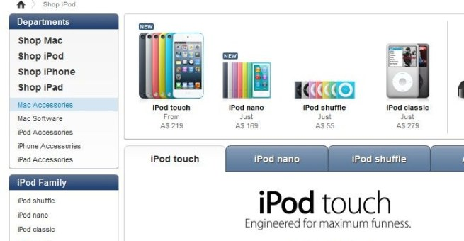 false advertising from apple 5th gen ipod touch from A$219